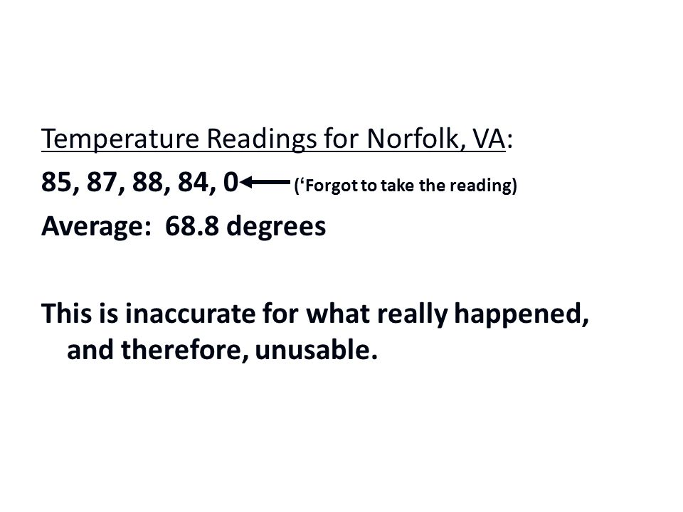 Temperature Readings for Norfolk, VA: 85, 87, 88, 84, 0 ('Forgot to take the reading) Average: 68.8 degrees This is inaccurate for what really happened, and therefore, unusable.