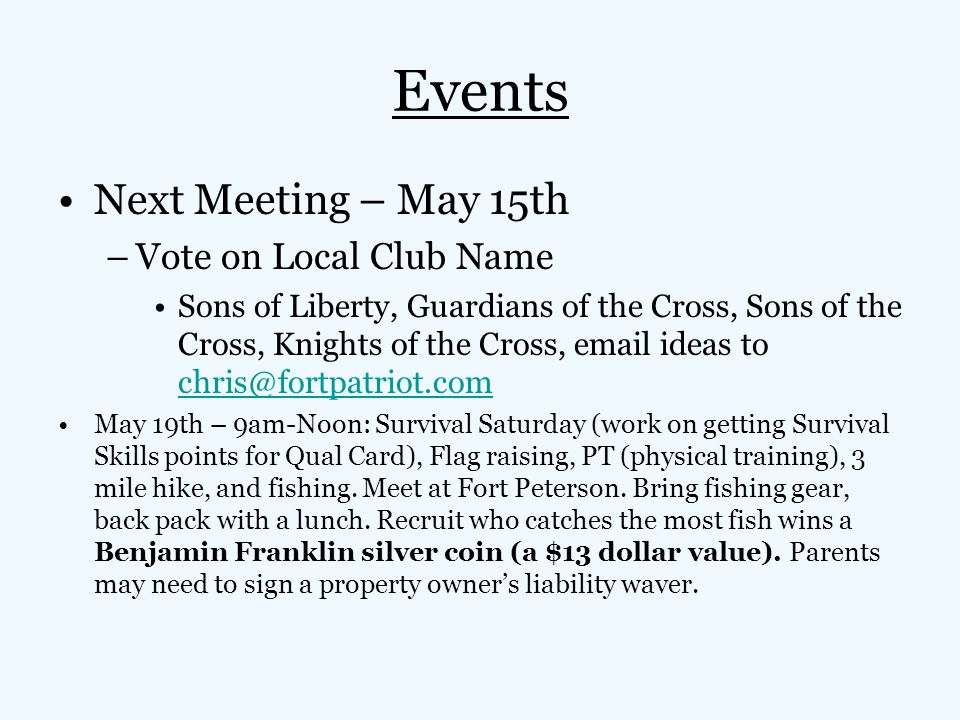 Events Next Meeting – May 15th Vote on Local Club Name