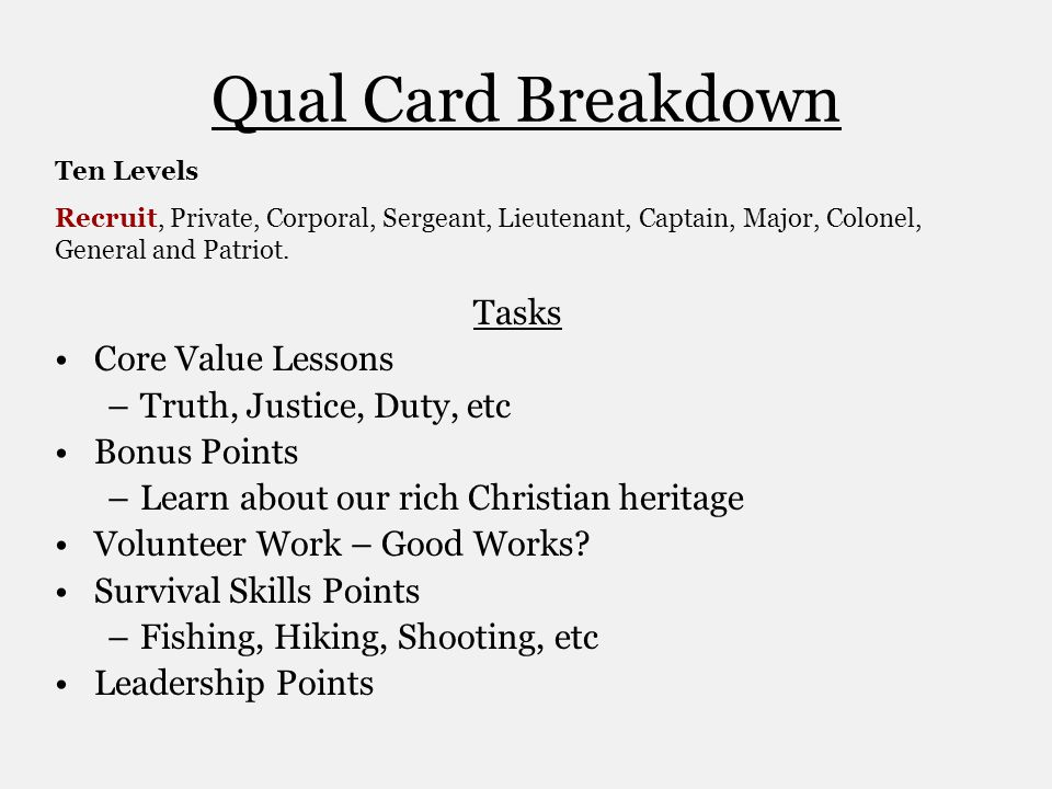 Qual Card Breakdown Tasks Core Value Lessons Truth, Justice, Duty, etc