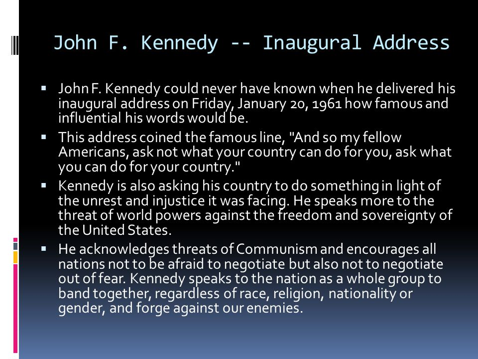 John F. Kennedy -- Inaugural Address