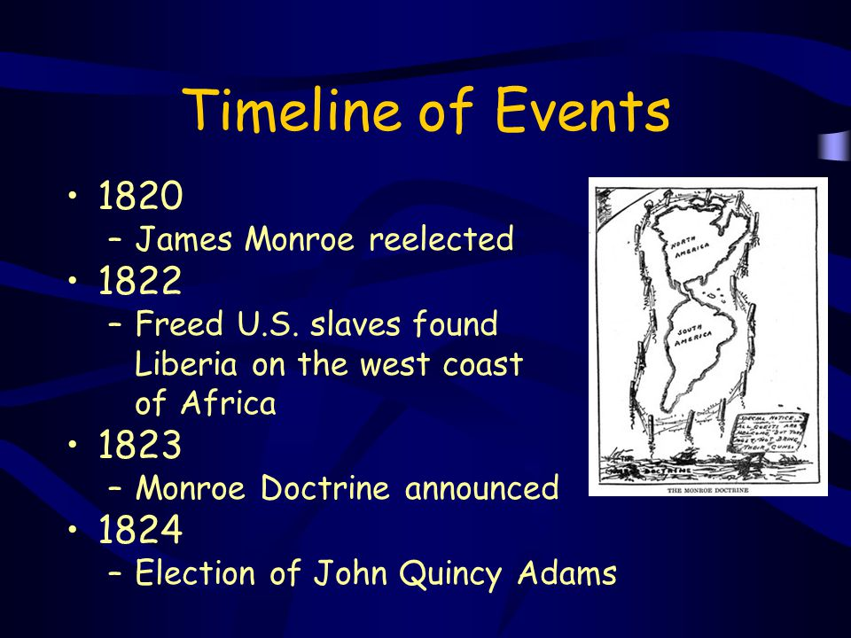 Timeline of Events 1820 1822 1823 1824 James Monroe reelected