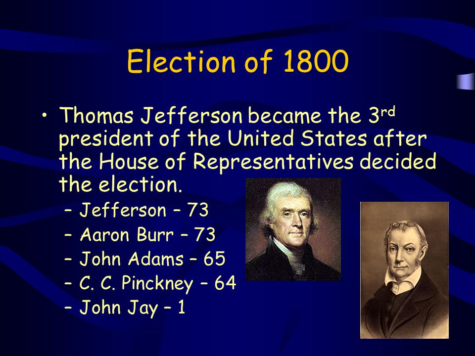 Election of 1800 Thomas Jefferson became the 3rd president of the United States after the House of Representatives decided the election.