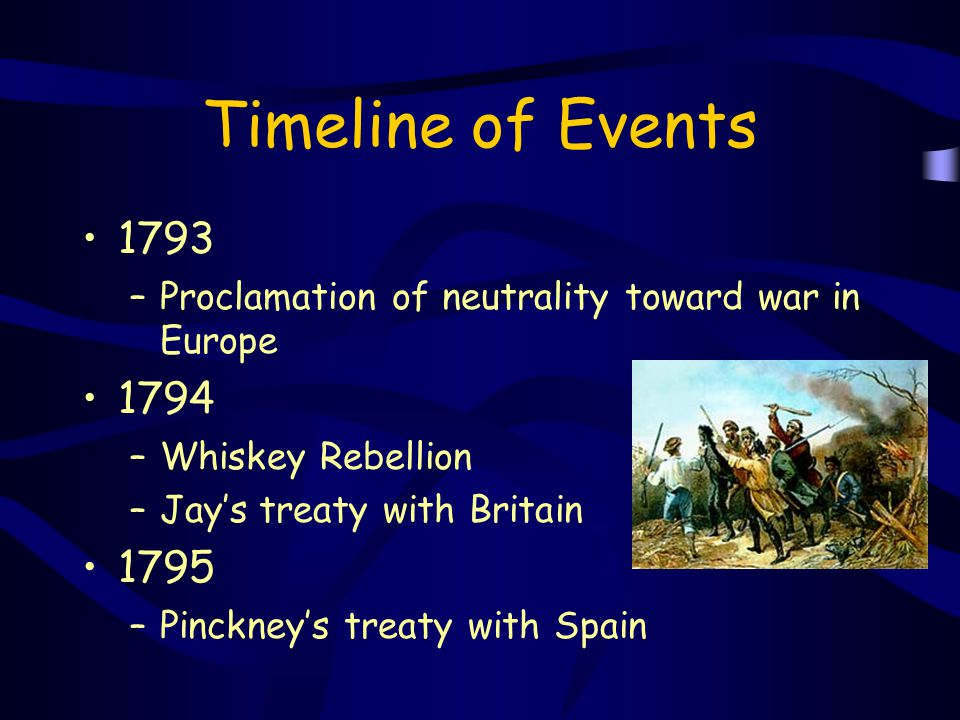 Timeline of Events 1793. Proclamation of neutrality toward war in Europe. 1794. Whiskey Rebellion.