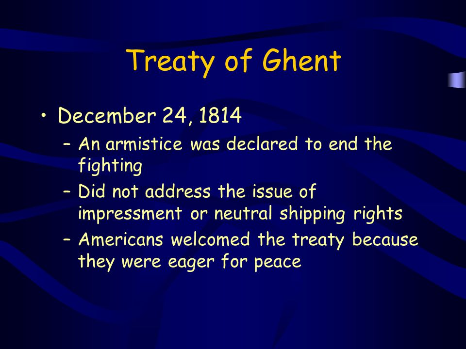 Treaty of Ghent December 24, 1814