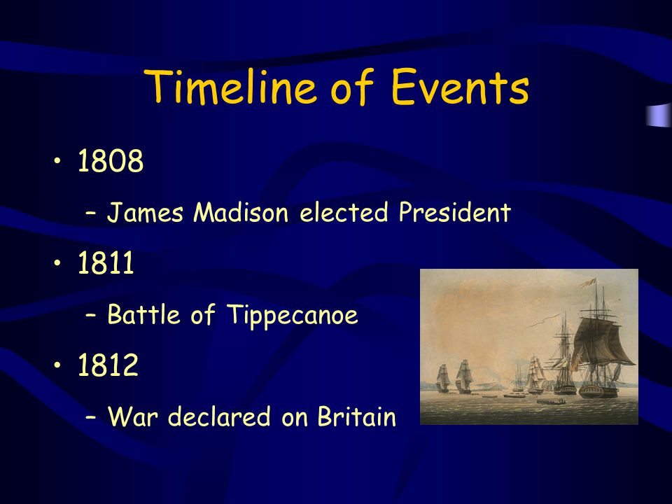 Timeline of Events 1808 1811 1812 James Madison elected President