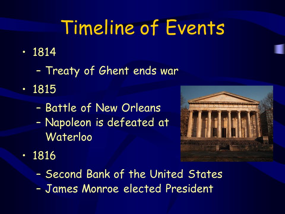 Timeline of Events 1814 Treaty of Ghent ends war 1815