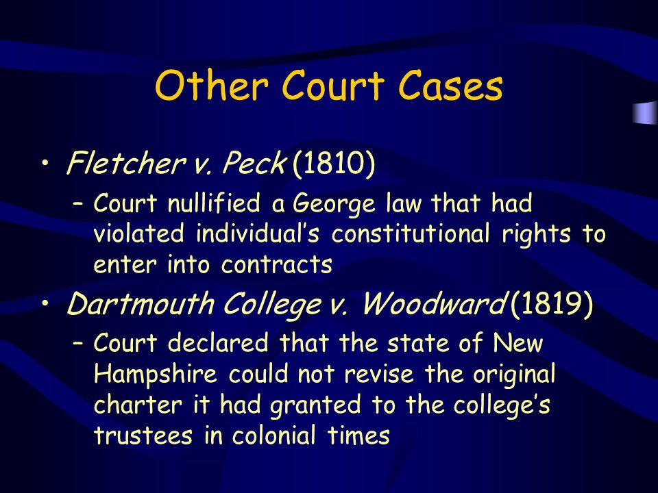 Other Court Cases Fletcher v. Peck (1810)