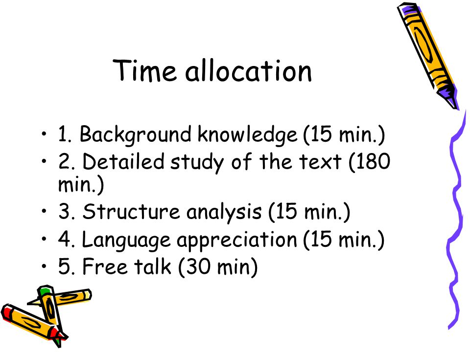 Time allocation 1. Background knowledge (15 min.)