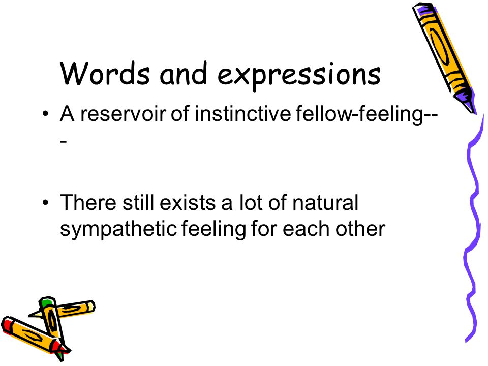 Words and expressions A reservoir of instinctive fellow-feeling---