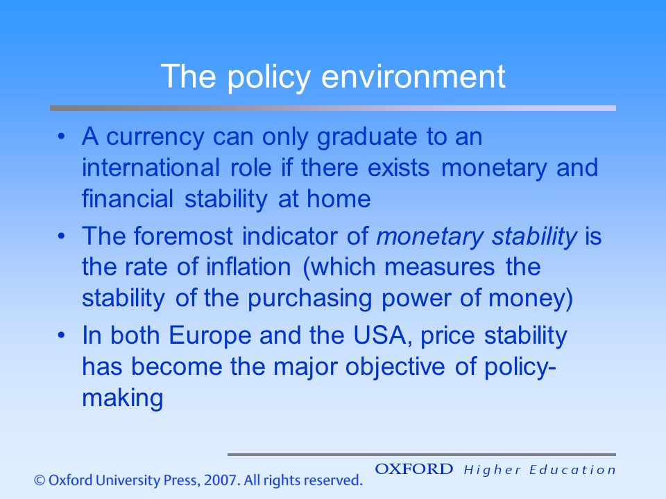 The policy environment