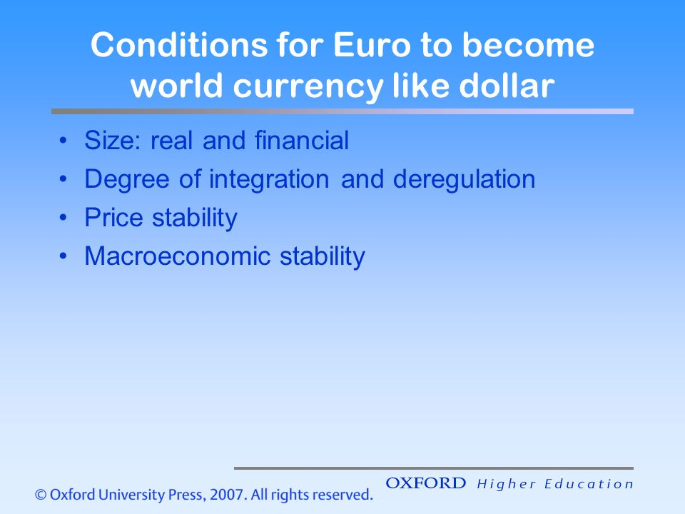 Conditions for Euro to become world currency like dollar