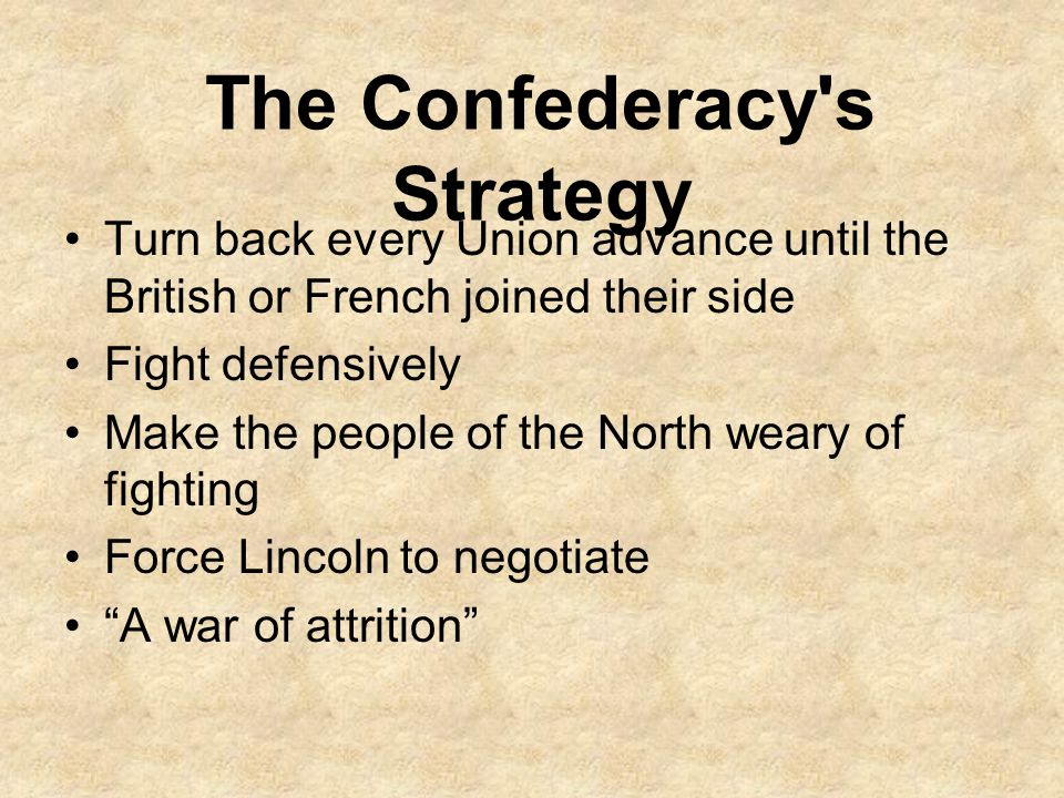 The Confederacy s Strategy
