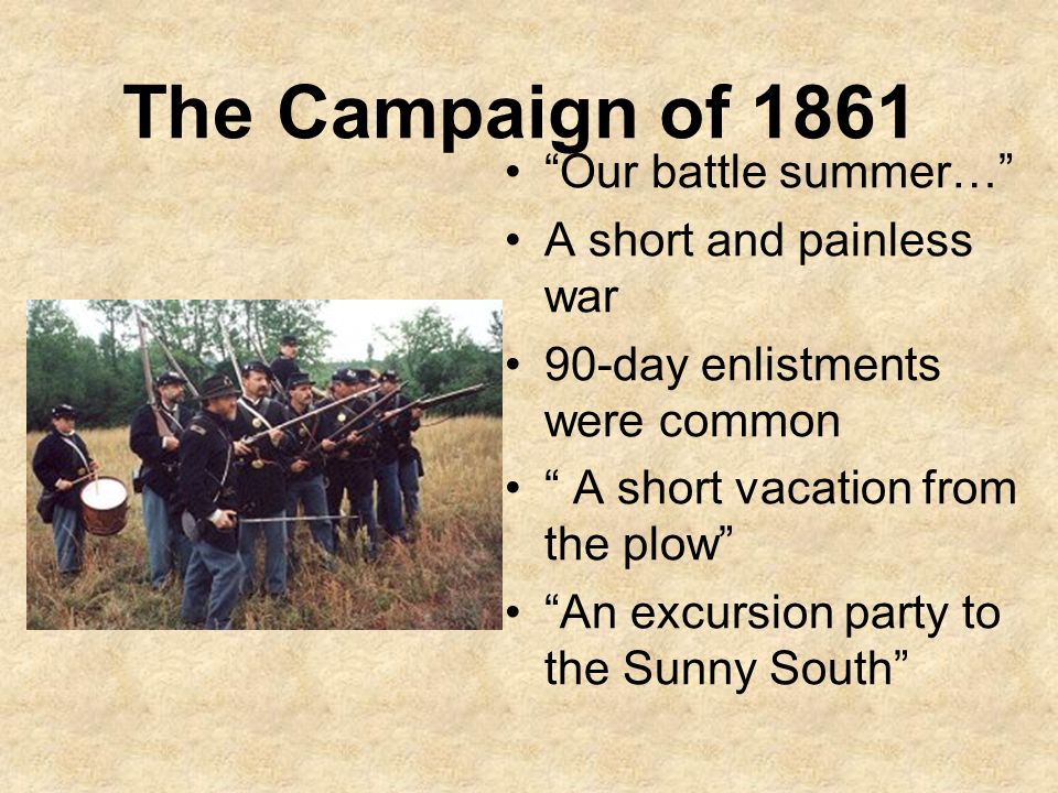 The Campaign of 1861 Our battle summer… A short and painless war