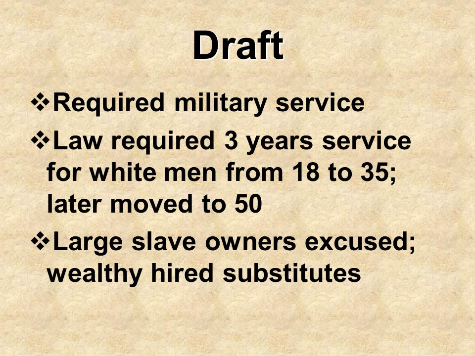 Draft Required military service