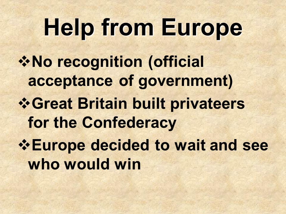 Help from Europe No recognition (official acceptance of government)