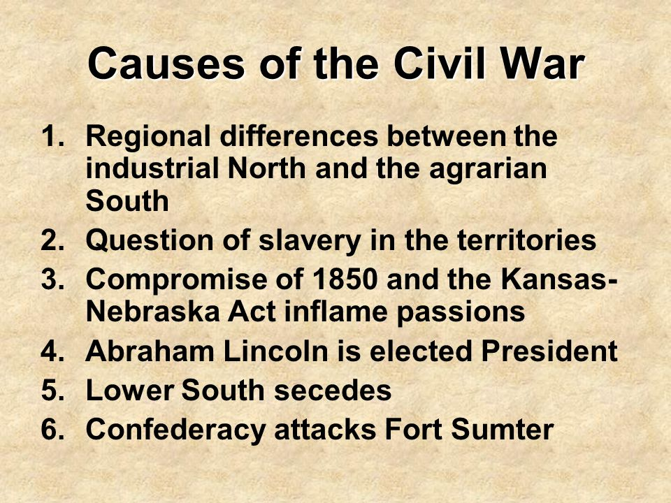 Causes of the Civil War Regional differences between the industrial North and the agrarian South. Question of slavery in the territories.