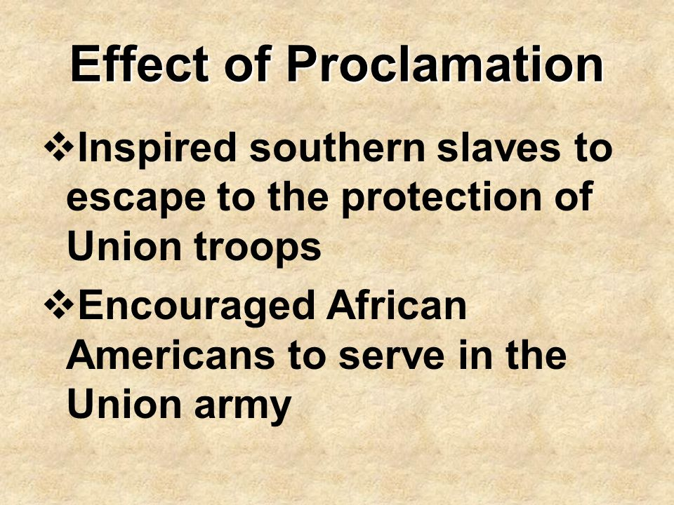 Effect of Proclamation
