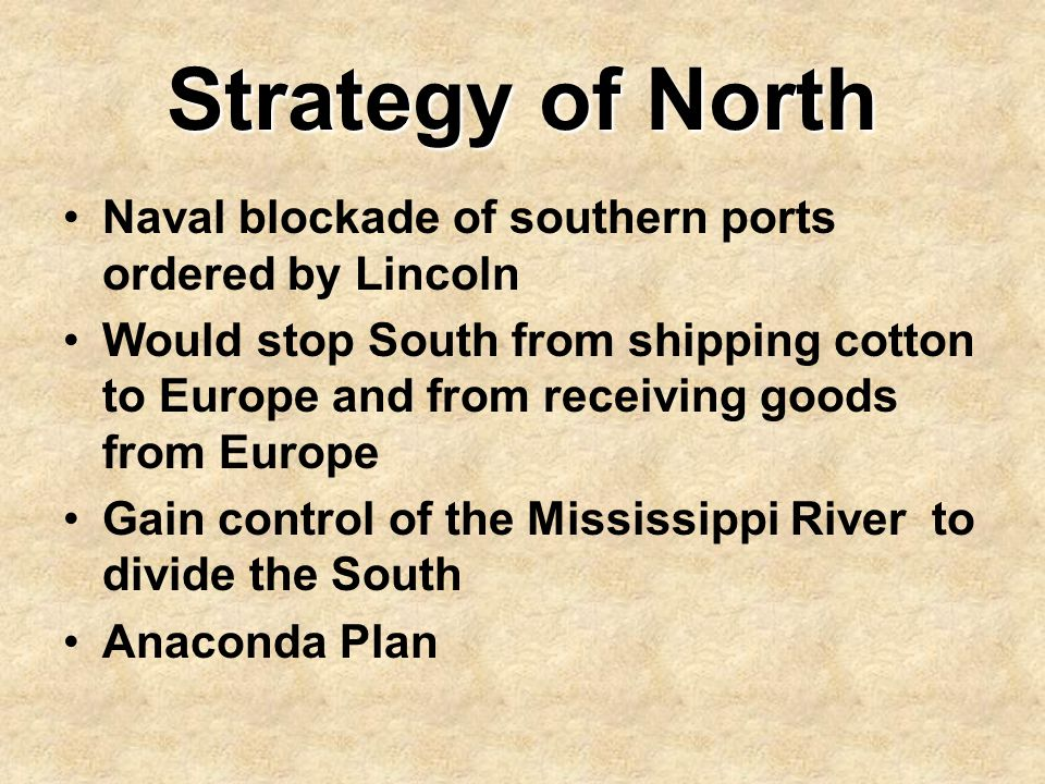 Strategy of North Naval blockade of southern ports ordered by Lincoln