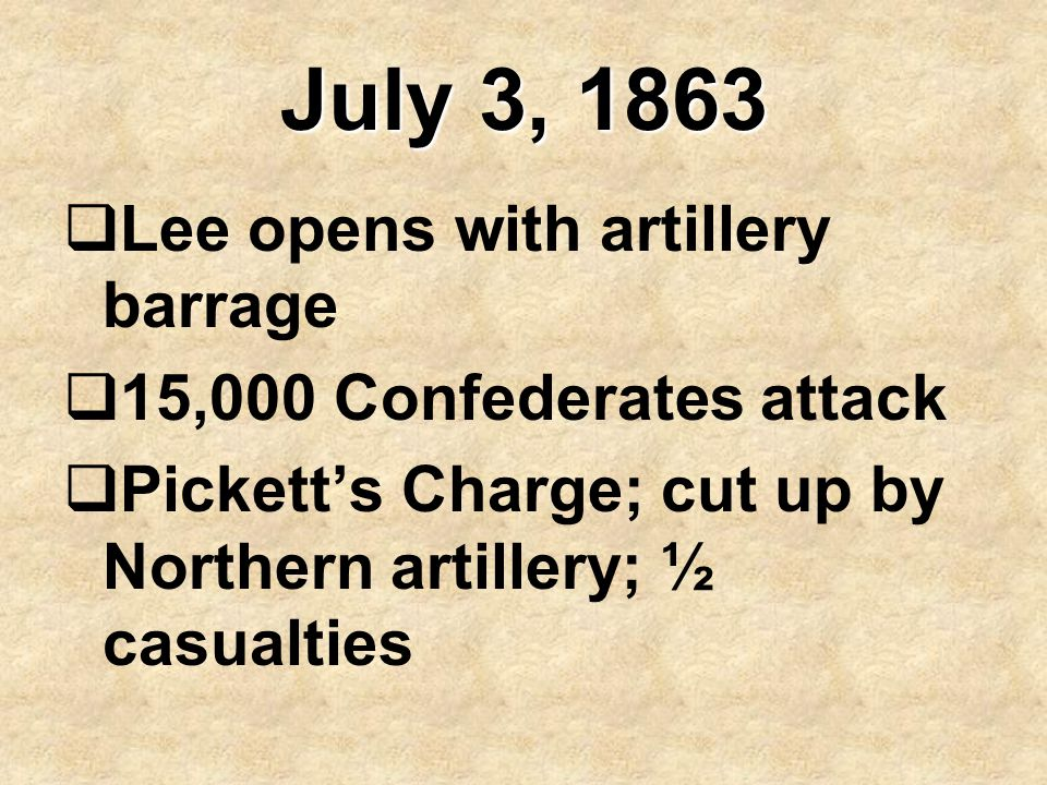 July 3, 1863 Lee opens with artillery barrage
