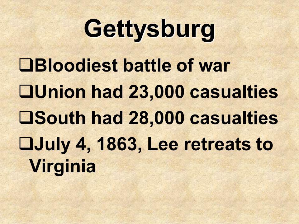 Gettysburg Bloodiest battle of war Union had 23,000 casualties