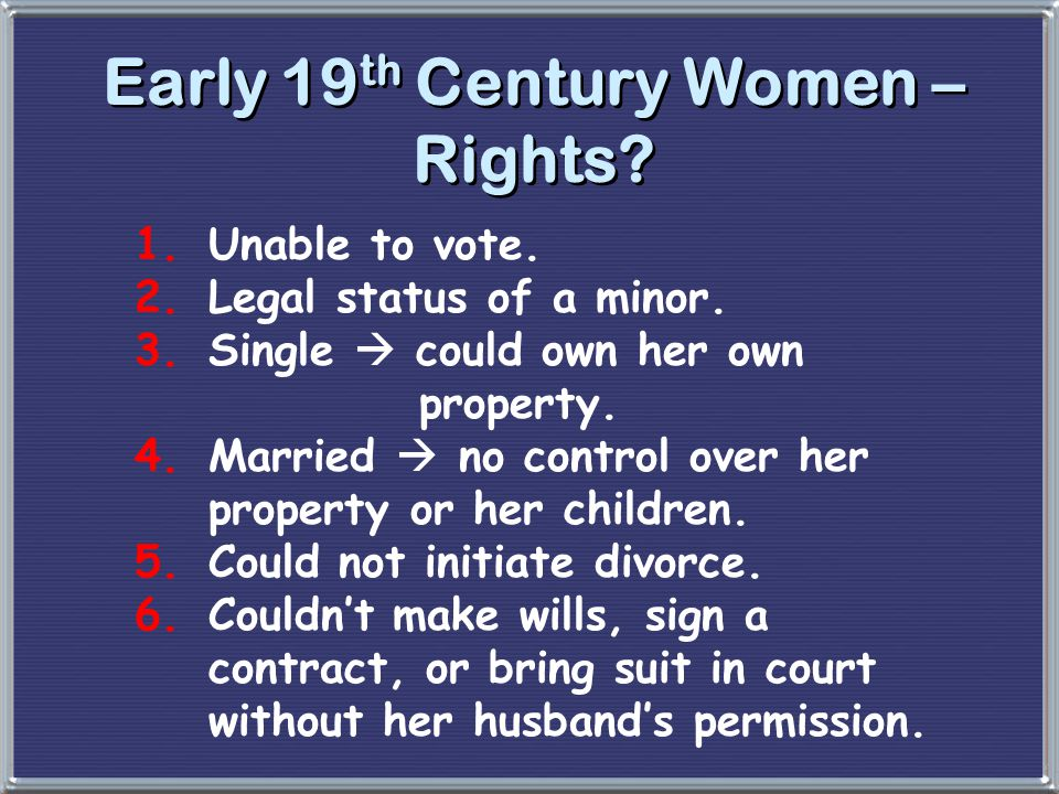 Early 19th Century Women – Rights