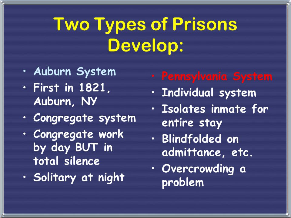 Two Types of Prisons Develop: