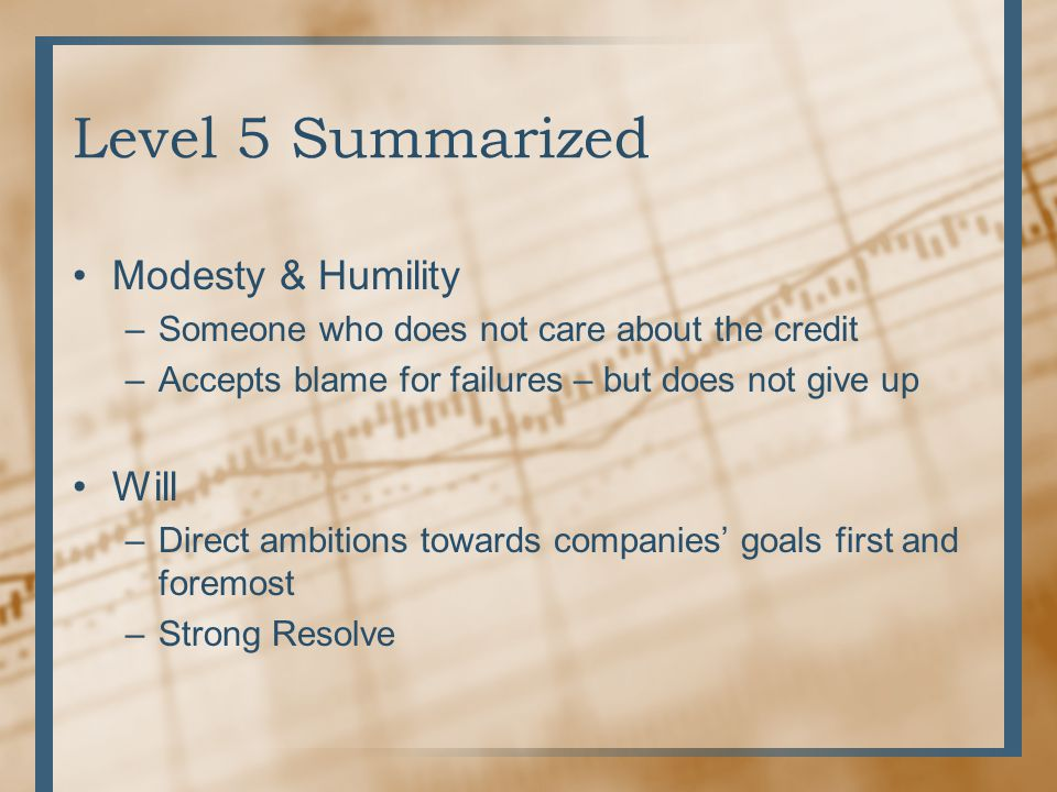 Level 5 Summarized Modesty & Humility Will
