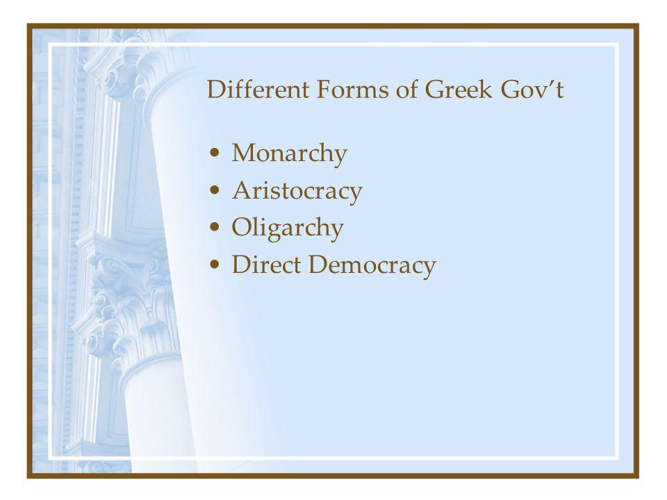 Different Forms of Greek Gov't