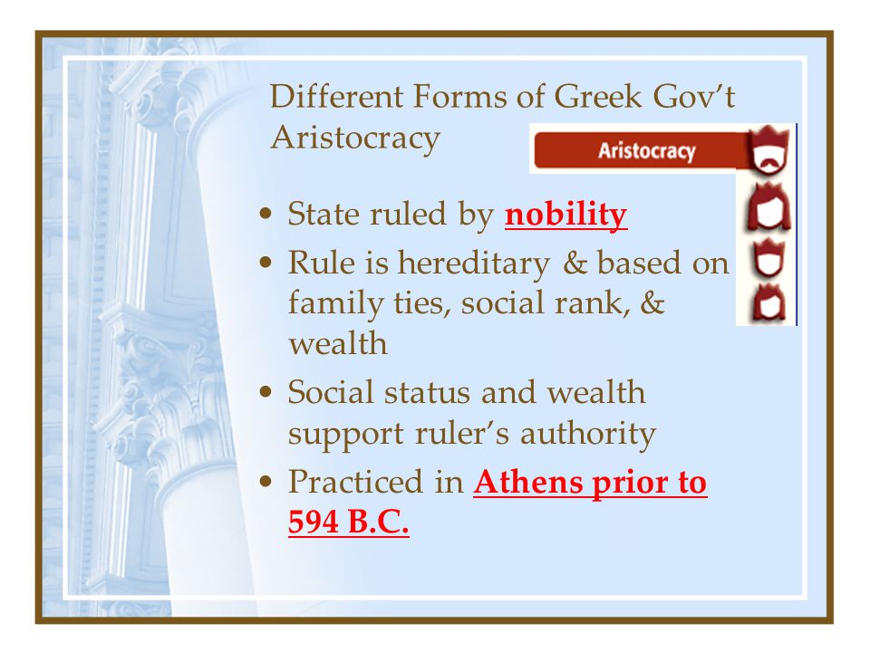 Different Forms of Greek Gov't Aristocracy