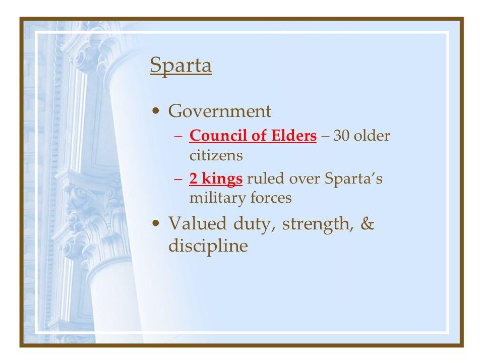 Sparta Government Valued duty, strength, & discipline