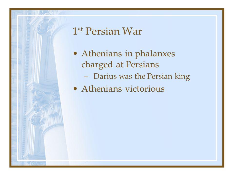 1st Persian War Athenians in phalanxes charged at Persians