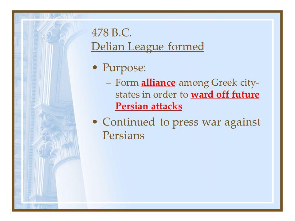 478 B.C. Delian League formed