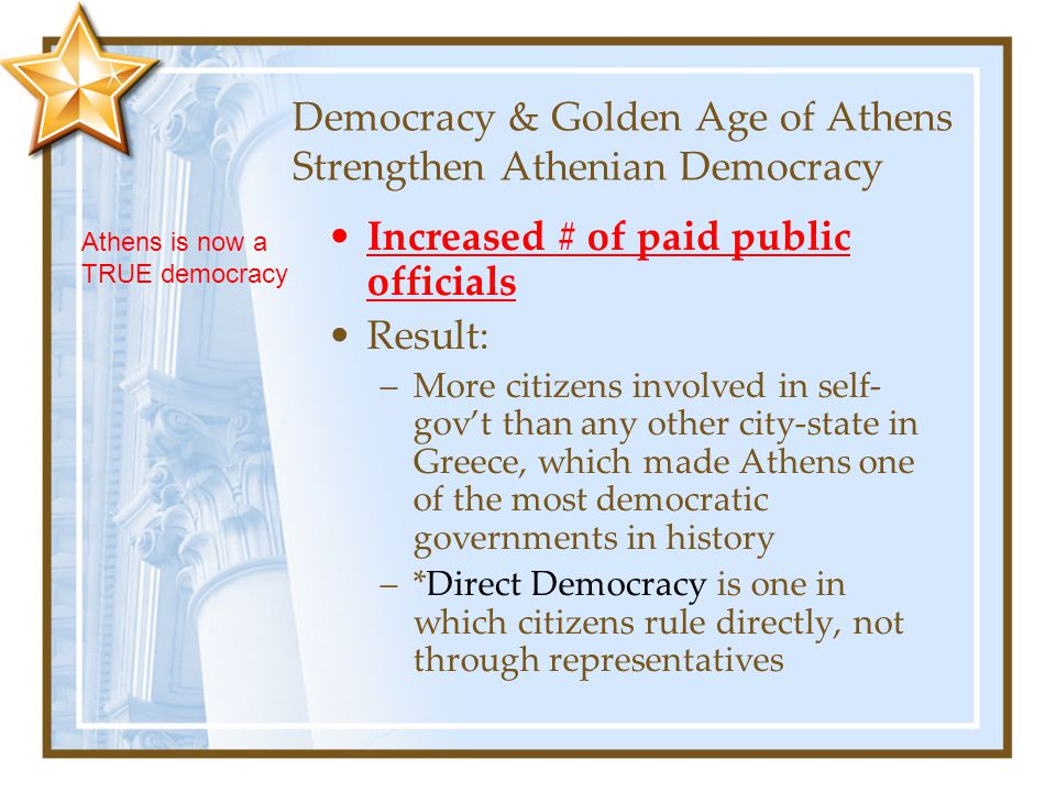 Democracy & Golden Age of Athens Strengthen Athenian Democracy