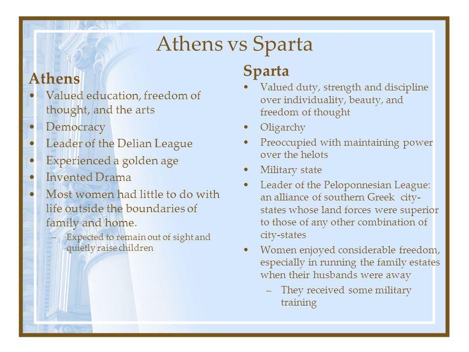 Athens vs Sparta Sparta Athens