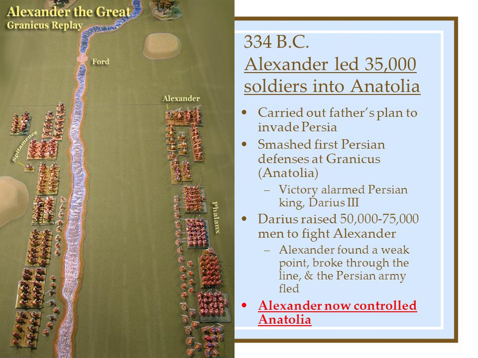 334 B.C. Alexander led 35,000 soldiers into Anatolia