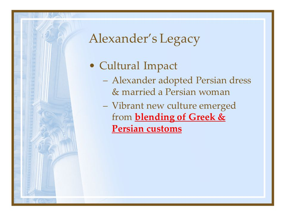 Alexander's Legacy Cultural Impact
