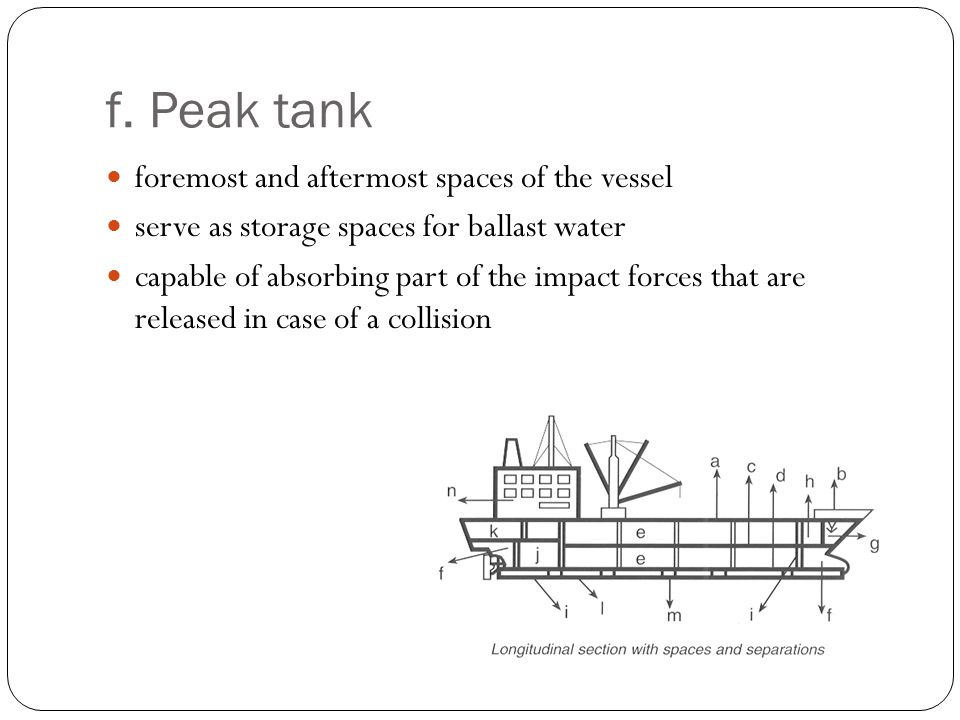 f. Peak tank foremost and aftermost spaces of the vessel