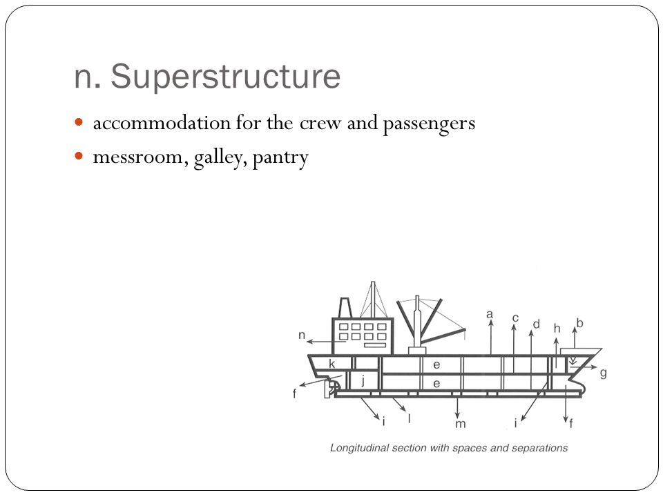 n. Superstructure accommodation for the crew and passengers