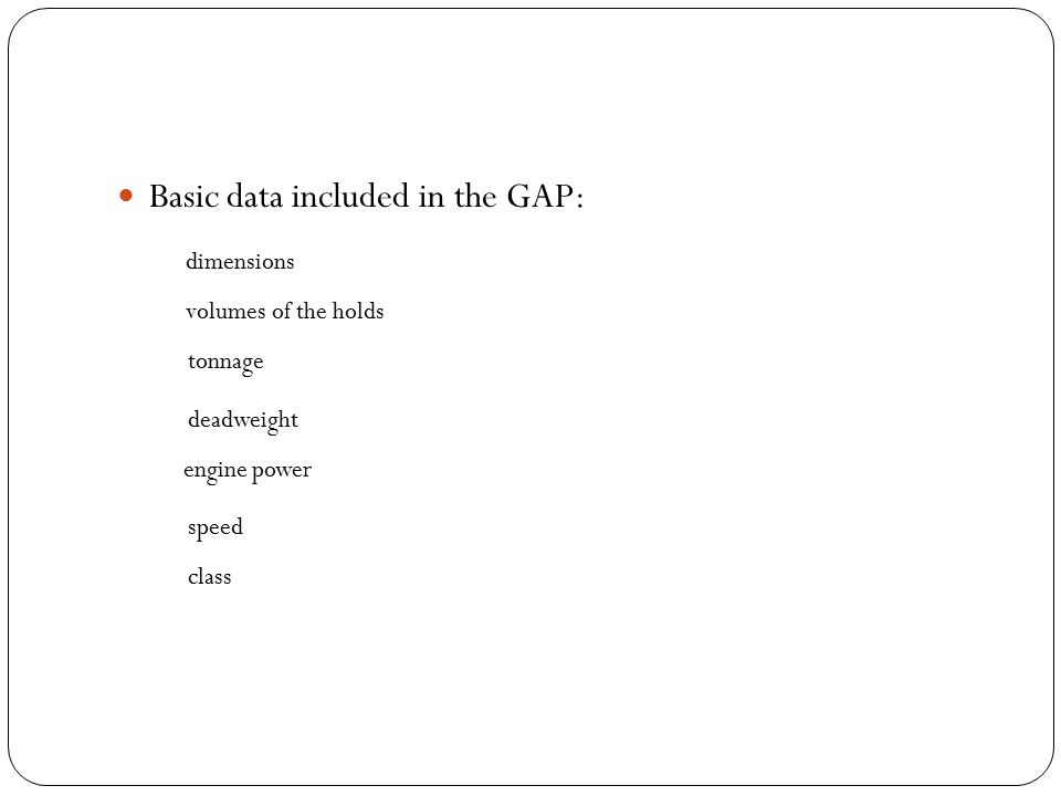 Basic data included in the GAP: