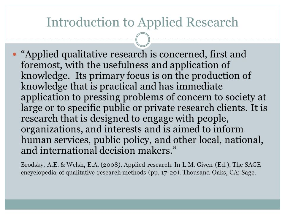 Introduction to Applied Research
