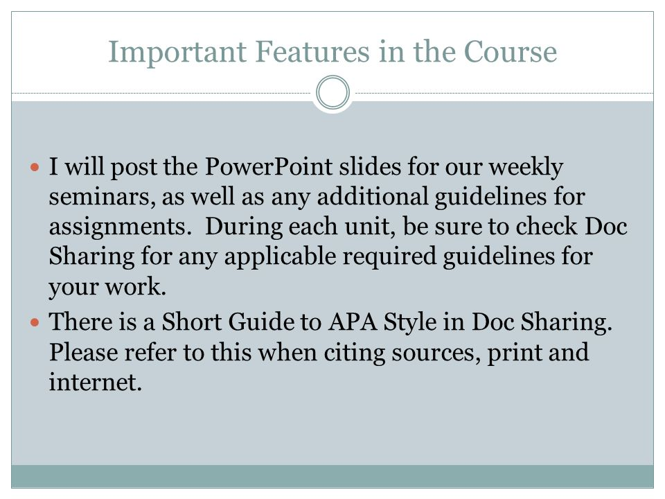 Important Features in the Course