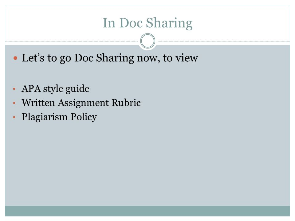 In Doc Sharing Let's to go Doc Sharing now, to view APA style guide