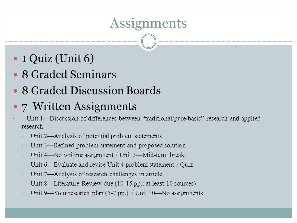 Assignments 1 Quiz (Unit 6) 8 Graded Seminars