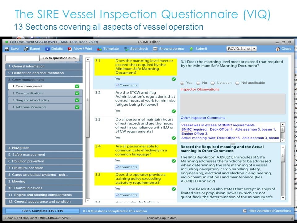 The SIRE Vessel Inspection Questionnaire (VIQ)