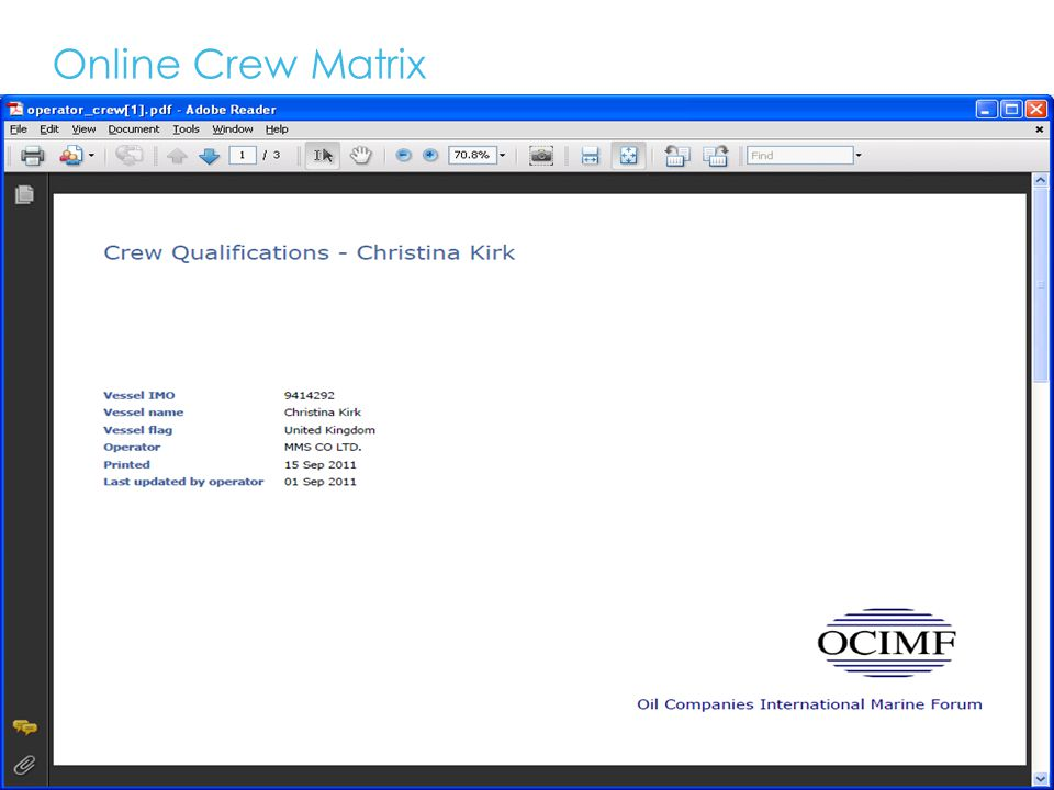 Online Crew Matrix 16