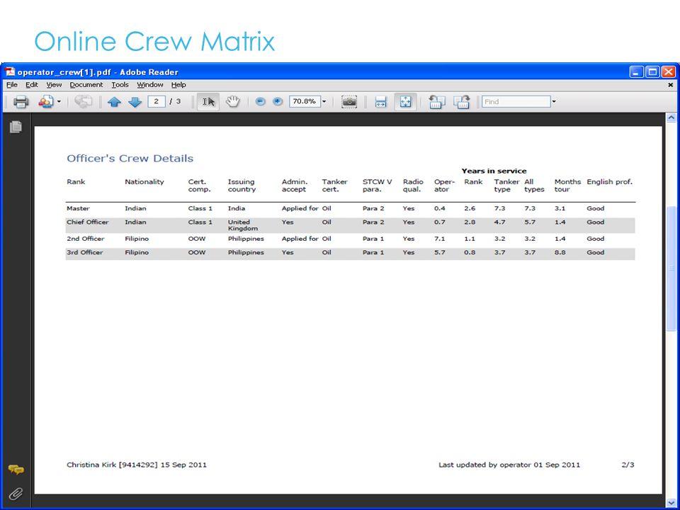 Online Crew Matrix 17