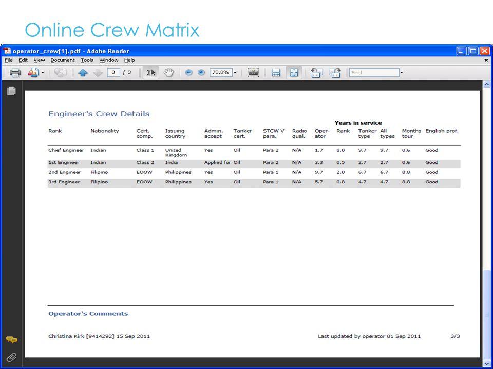 Online Crew Matrix 18