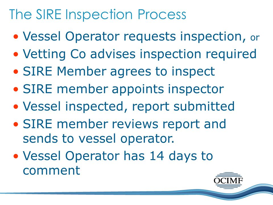 The SIRE Inspection Process