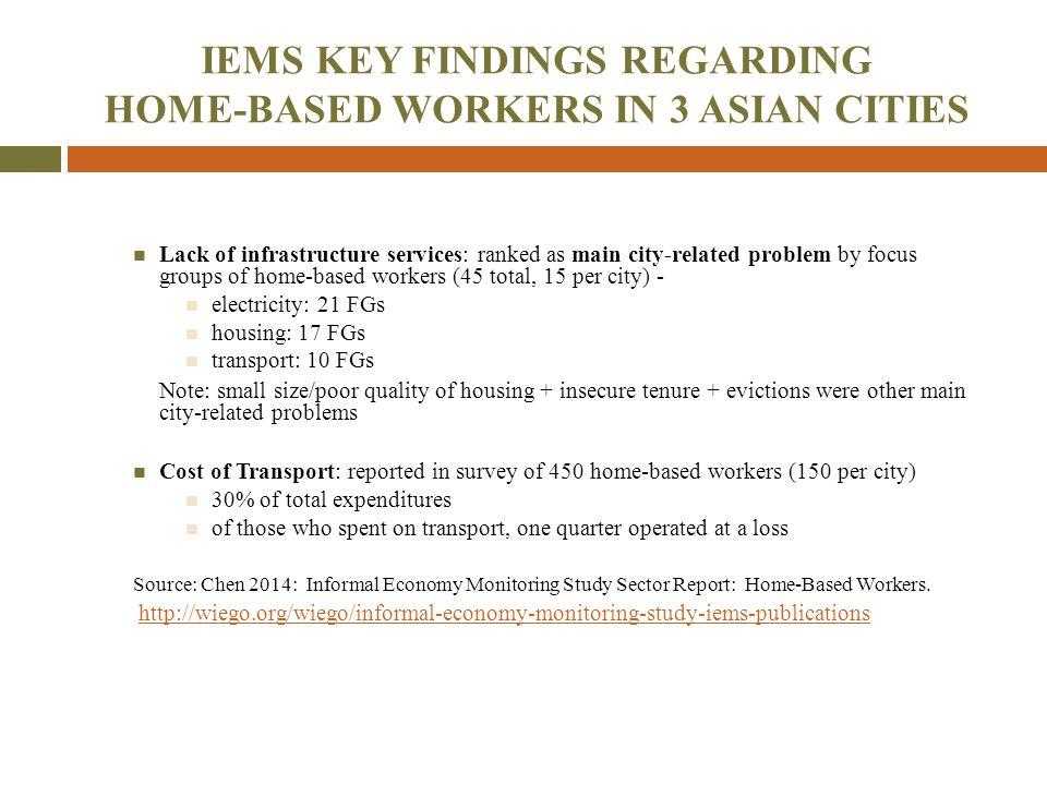IEMS KEY FINDINGS REGARDING HOME-BASED WORKERS IN 3 ASIAN CITIES