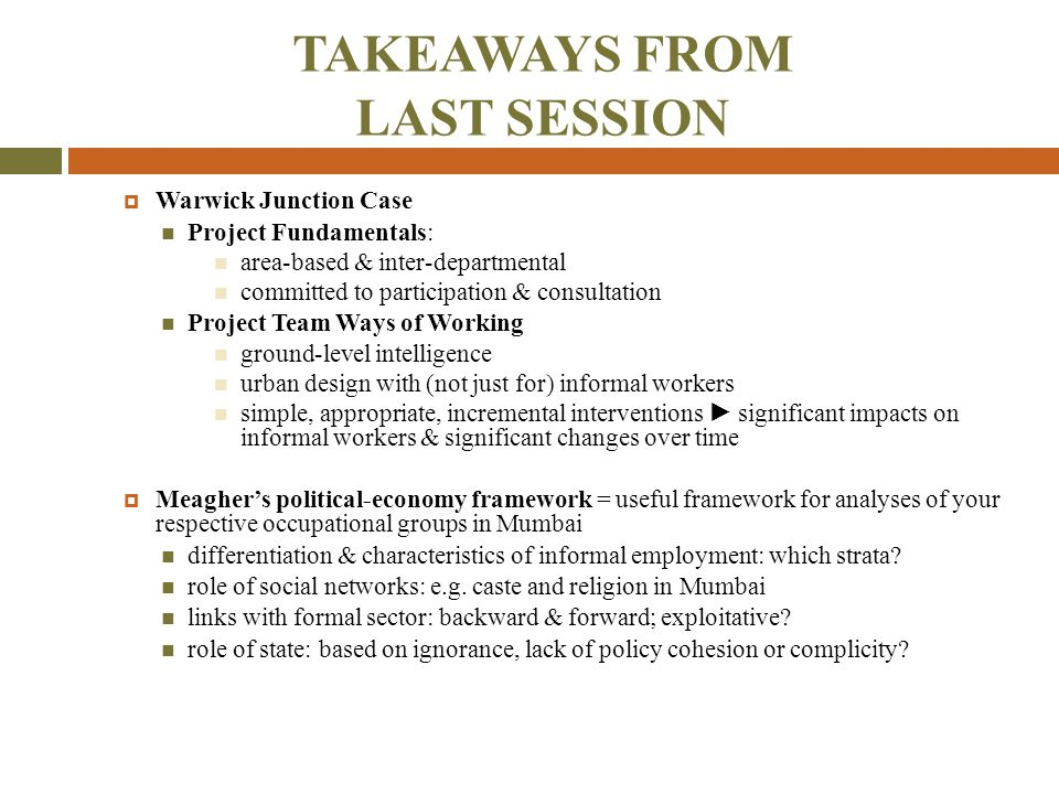TAKEAWAYS FROM LAST SESSION